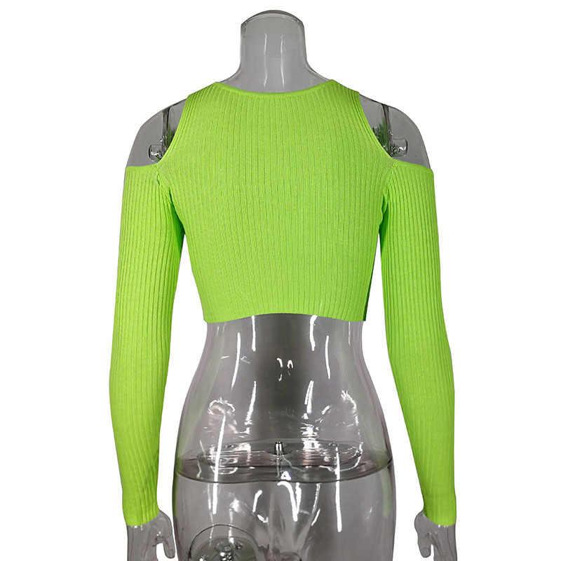 ArtSu/осенний зеленый хлопковый топ на бретельках с длинными рукавами и открытыми плечами, Сексуальная футболка с лучшими друзьями, женская футболка, топ, Повседневная футболка ASTS21095