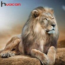 Huacan bricolage diamant Art peinture 5d Lion plein carré diamant broderie mosaïque Animal à la main couture cadeau décor à la maison