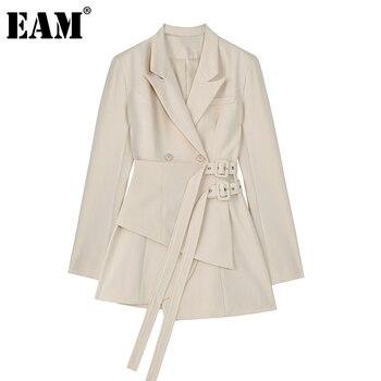 [EAM]  Women Irregular Bandage Spliced Blazer New Lapel Long Sleeve Loose Fit Jacket Fashion Tide Spring Autumn 20211DA710