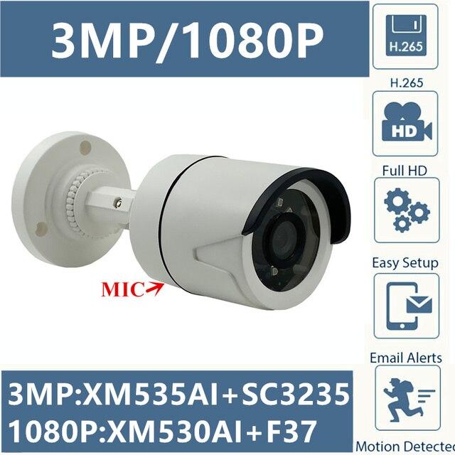 Intégrer micro 3MP 2MP IP balle caméra Audio XM535AI + SC3235 2304*1296 XM530 + F37 1080P Onvif CMS XMEYE détection de mouvement RTSP IRC