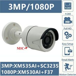 Image 1 - MIC 3MP 2MP IP Bullet 카메라 오디오 통합 XM535AI + SC3235 2304*1296 xj530 + F37 1080P Onvif CMS XMEYE 모션 감지 RTSP IRC