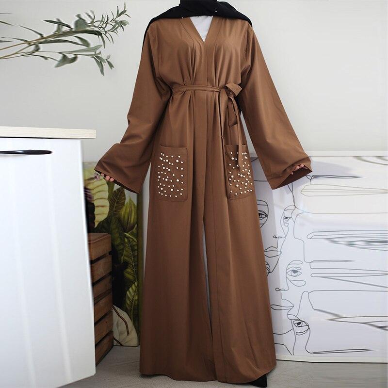 Siskakia Classy Islamic Open Abaya Front Pearl Pockets Solid Brown Plain Muslim Women Abaya Dubai Marocain Turkish Eid Clothing
