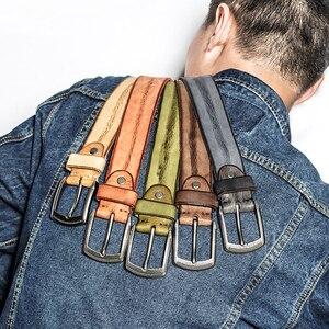 Image 3 - MEDYLA skóra bydlęca męski pas z zapięciem na sprzączkę Vintage luksusowy męski pasek do jeansów pełna skóra licowa pasy Ceinture Cintos pas wyszczuplający talię
