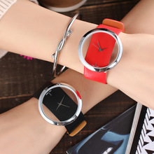 Korean Style Watch For Womens Minimalist Creative Transparent Dial Ladies Watches Bracelet Casual Colorful Leather Quartz Clock