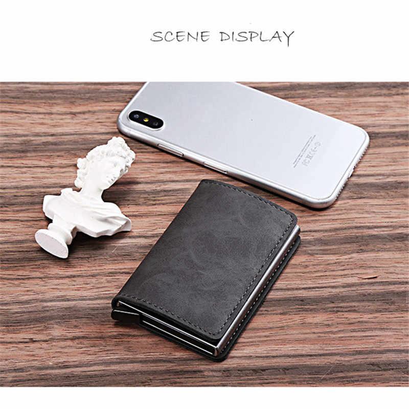 ZOVYVOL 2020 nowy PU Leather Metal pojedyncze pudełko etui na karty kredytowe etui na karty kobiety i mężczyźni RFID portfele Vintage identyfikator firmy Holder