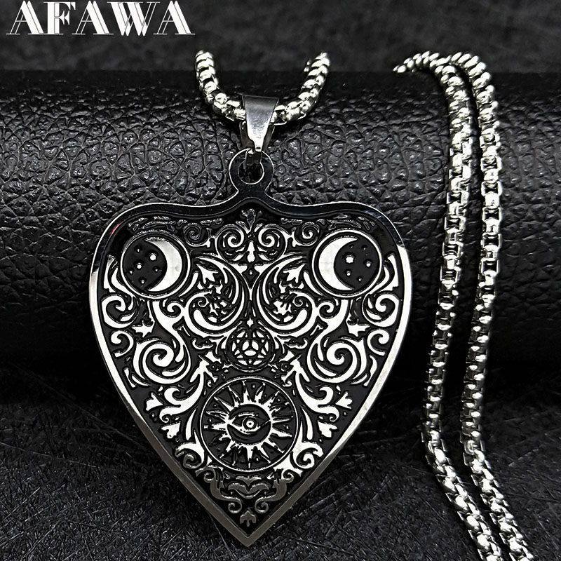 2020 Sun Moon Witchcraft Divination Stainless Steel Necklace Women/Men Black Color Chain Necklace Jewelry colgante N19835
