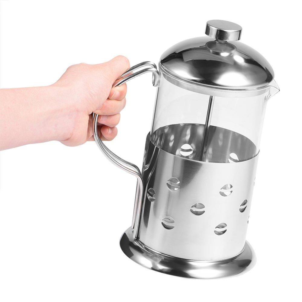 1000ml Stainless Steel Coffee Pot, Stainless Steel Glass Coffee Pot French Press Filter Pot Household Tea Maker, Coffee Maker,