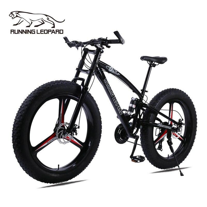 Горный велосипед Running Leopard, маунтин-байк, 7/21/24 скорости, толстые шины 26x4,0 дюйма, противоударная подвеска, передняя амортизационная вилка