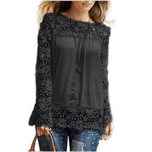 2019 Fashion autumn Lace Hollow Out Women Blouse long Sleeve Casual Loose Shirts Top Female White Crochet Blouse transparent top hollow out contrast crochet lace top