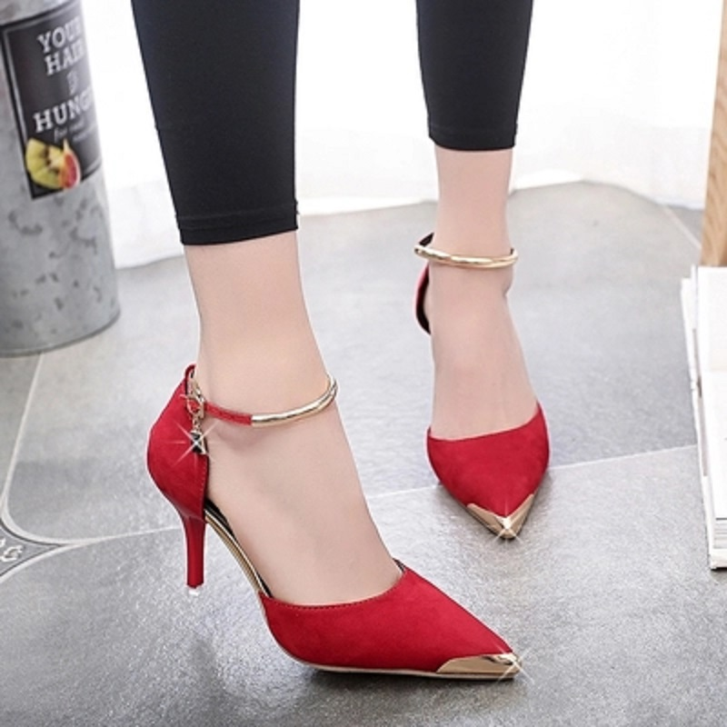 2018 New Women Suede Sexy High Heels Ladies Wedding Shoes Banquets.