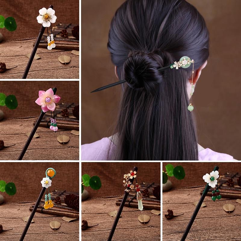 Новинка; Роскошные зимние сапоги цветок шпильки для волос палочки старинная деревянная ручка для волос на китайском языке, булавки для женщ...