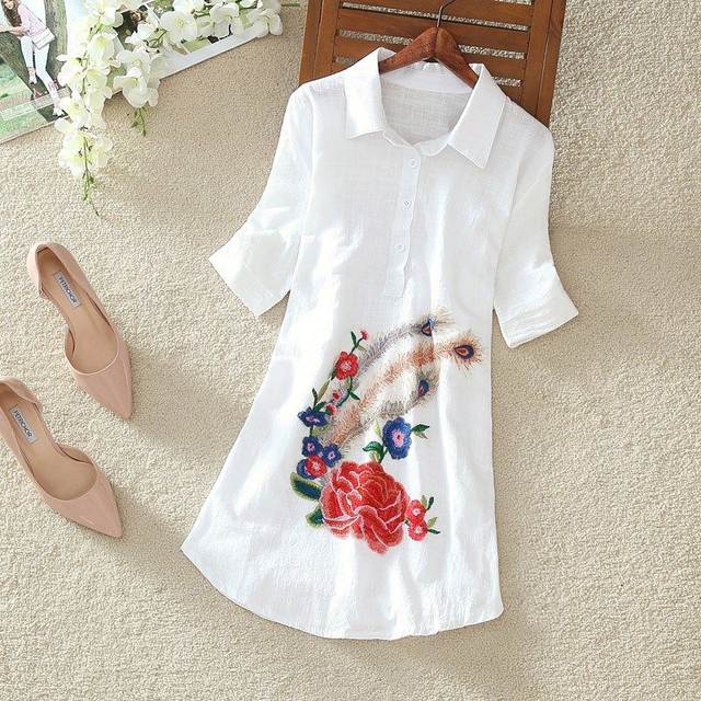 Women Spring Summer Style Embroidery Blouses Shirts Lady Casual Short Sleeve Turn-down Collar blusas Tops ZZ0556 3