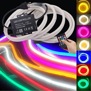 Music Neon Light RGB Led Neon Strip 220V 110V Remote Control Flexible LED Neon Sign String 2835 5050 120LED Ribbon Tape Lamp wireless remote music voice control car rgb led neon interior light lamp strip