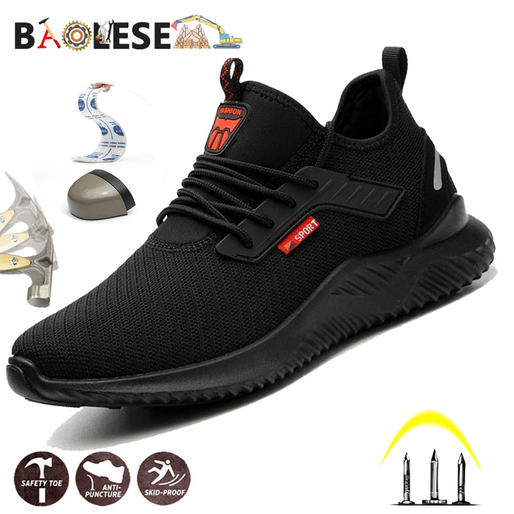 BAOLESEM Men Safety Work Shoes Man Steel Toe Cap Puncture-Proof Breathable Light Work Sneakers Industrial Indestructible Shoes