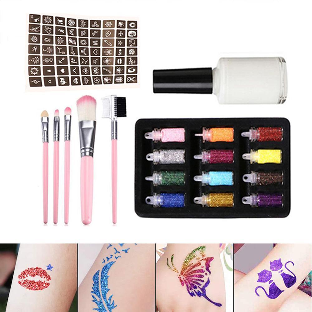 12Color/5 Brushes Set Diamond Glitter Flsah Powder For Temporary Tattoo Set Children Face Body Art Painting Suit Tool Suit