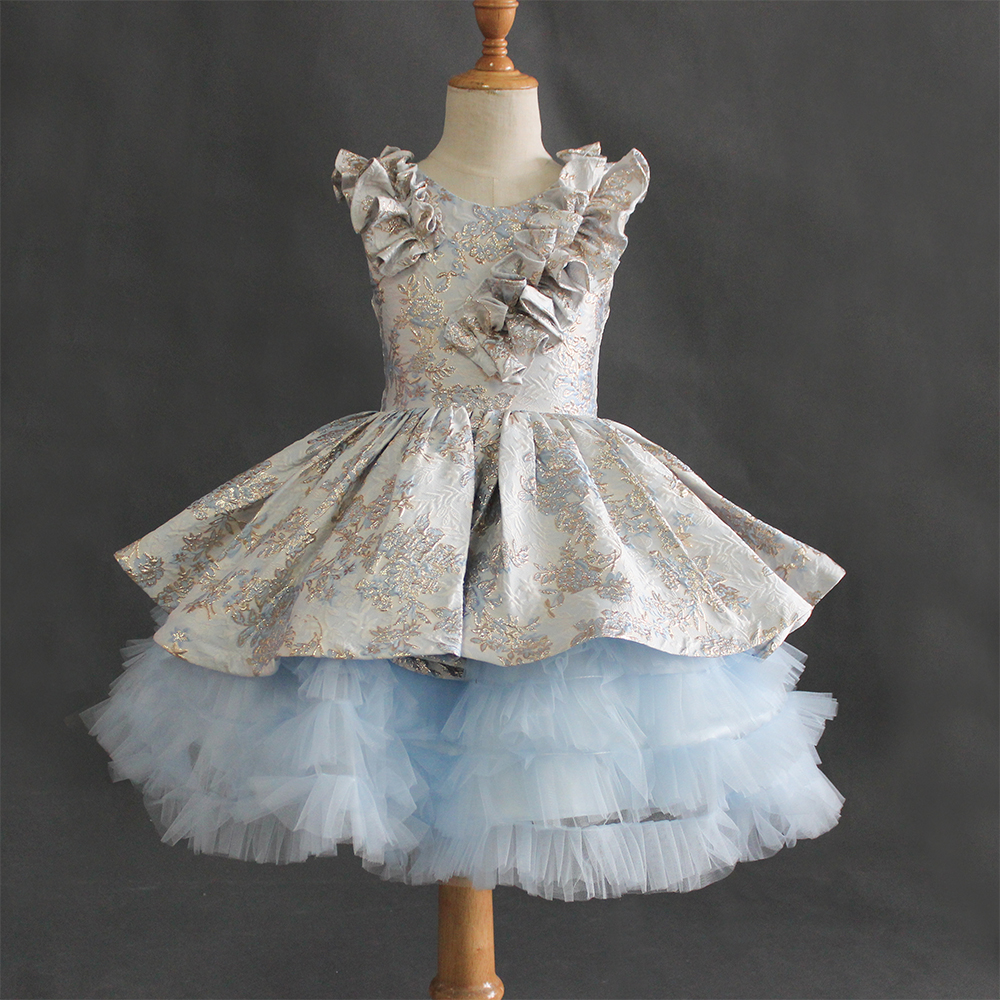 New Arrivals Sequin Embroidery Baby Blue Girls Lace Appliques Satin Tulle Princess Dresses Flower Girls Dresses