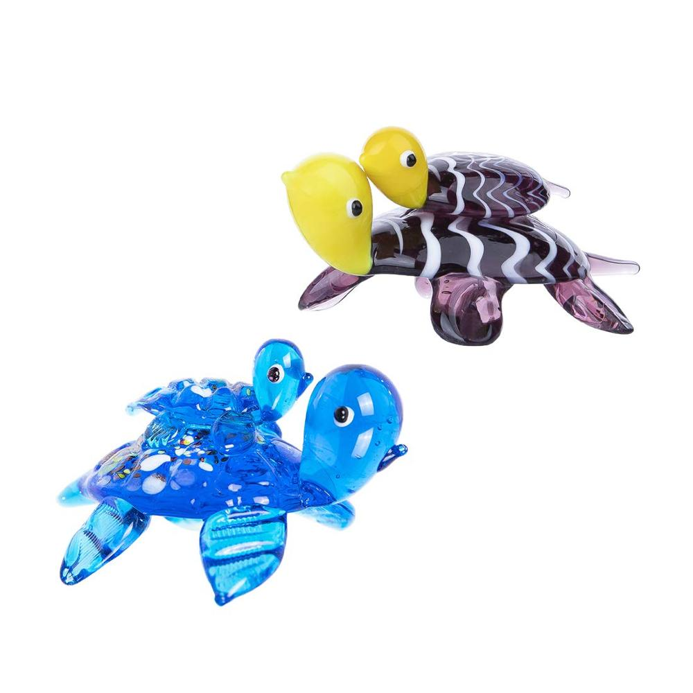 H&D Set of 2 Swimming Turtle With Baby Glass Blown Decorative Figurines Murano Art Glass Sea Animal Sculpture Collectible Gifts