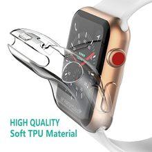 Capa transparente para apple assistir série 6 3 2 1 38mm 42mm 360 completo macio claro tpu protetor de tela caso iwatch 4 5 44mm 40mm
