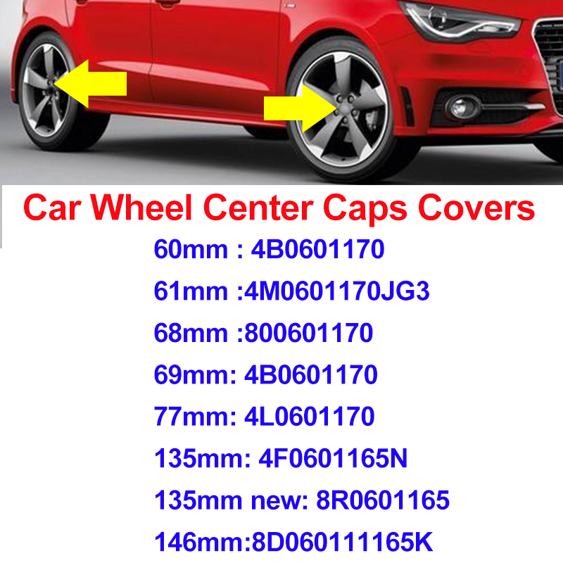 Car Styling 60mm 61mm 68mm 69mm 77mm 135mm 146mm Gray Black Wheel Center Caps Emblem Badge Wheel Hub Labe Covers for AUDI