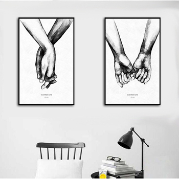 Nordic Poster Holding Hands Picture Canvas Print Lovers Painting Wall Art For Minimalist Decoration Of Living Room Home Decor image