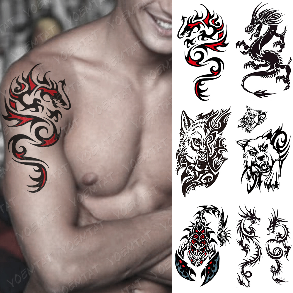 Waterproof Temporary Tattoo Sticker Dragon Fire Flash Tattoos Wolf Scorpion Body Art Arm Water Transfer Fake Tatoo Women Men