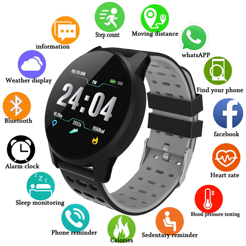 Blood Pressure Oxygen Monitor Tonometer Wrist Heart Rate Monitor Smart Watch Men Women GPS Activity Fitness Tracker Sport Watch