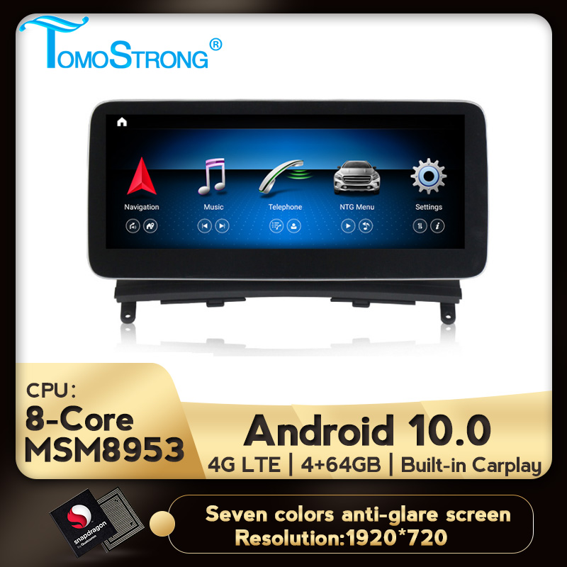 TOMOSTRONG Android 10 Auto GPS multimedia-player für Mercedes benz C Klasse <font><b>W204</b></font> 2008 2009 2010 IPS Kopf Einheit suppoer DVR Carplay image