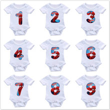 Zomer Pasgeboren Baby Meisje Kleding Cartoon Spiderman Baby Boy Romper Nummer 1-9 Print Rompertjes Baby Jumpsuit Ropa Bebe playsuit(China)
