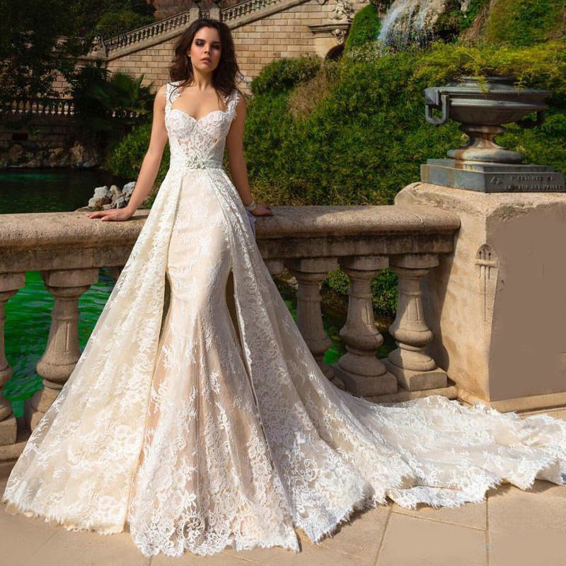 Robe De Mariee 2019 New Champagne Mermaid Wedding Dresses With Detachable Train Bridal Gowns Plus Size 2020 Wedding Dress