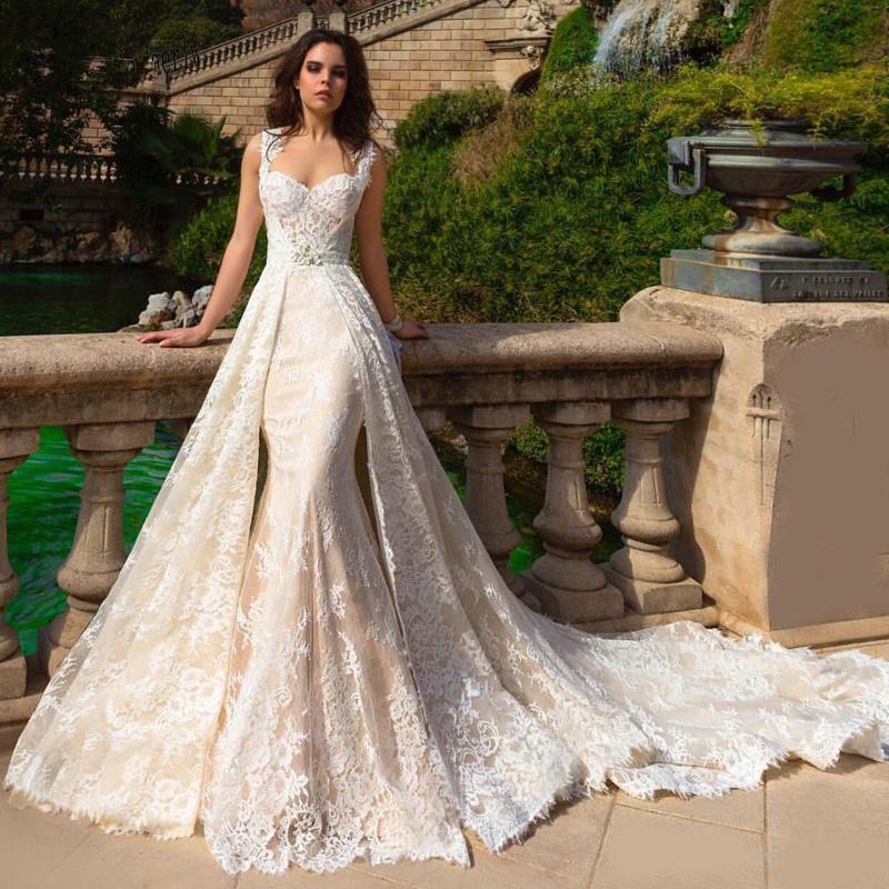 Robe De Mariee 2019 New Champagne Mermaid Wedding Dresses With Detachable Train Bridal Gowns Plus Size 2020 Wedding Dress