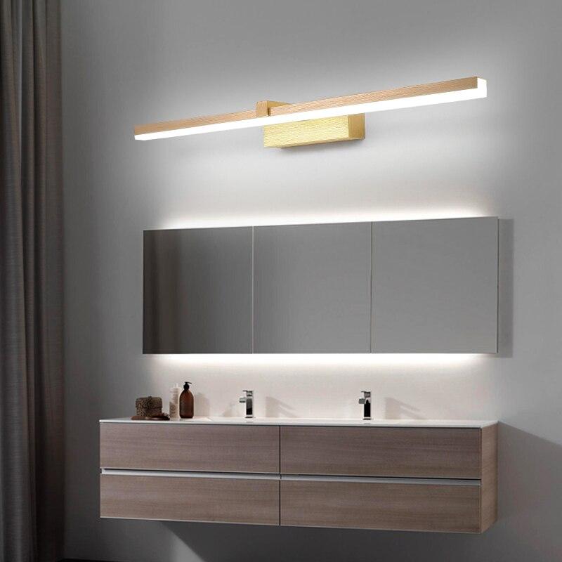 ac110 240 v l40cm 60cm 80cm arte moderna decoracao led espelho do banheiro luz escovado ouro