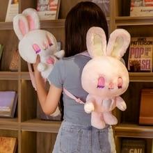 50CM Cute Rabbit Plush Backpack Stuffed Animals Long Ear Bunny Girl School Bag Hug Toy For Children Birthday Xmas Gift