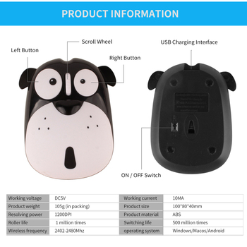 1pc Newest Power Saving Mute Rechargeable Wireless Mouse Cute Animal Puppy Mouse 2.4G Wireless Mouse Rechargeable Mouse 2