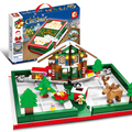 Новый Рождественский подарок 2020, Санта-Клаус, лось, развивающие строительные блоки, кирпичи, игрушки, город, образовательный подарок для мал...