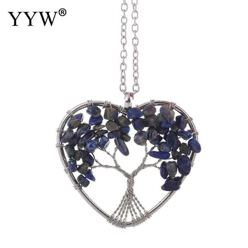 YYW หินธรรมชาติ 7 Healing Tree of Life จี้คริสตัลเครื่องประดับของขวัญสร้อยคอจี้หัวใจ Amulet Healing