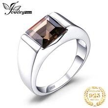 Bijoux véritable fumé Quartz anneau 925 en argent Sterling anneaux pour hommes anneaux de mariage argent 925 pierres précieuses bijoux bijoux fins