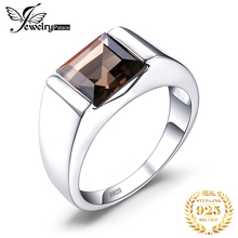 Classics 2.3ct Natural Smoky Quartz Wedding Ring For Men Solid 925 Sterling Silver Fashion Accessories Vintage Charm Jewelry