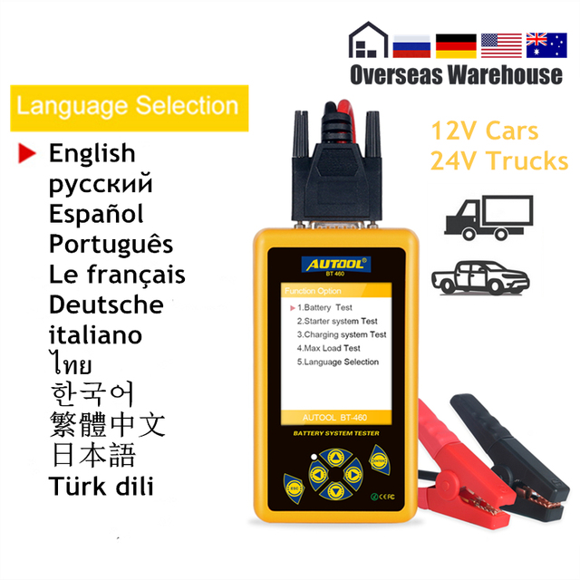 AUTOOL BT460 Battery Tester Car Digital Diagnostic Tool Analysis Instruments Lead acid CCA AGM GEL Auto Battery Analyzer 12V 24V