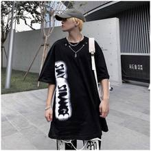 Summer fashion brand high street printed Necklace decoration short sleeve t-shirt men's and women's trend loose round neck half