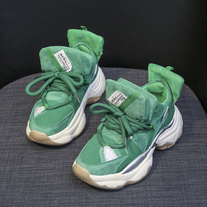2020 Spring Green Chunky Sneakers Women Faux Suede Platform Casual Shoes Woman Thick Sole Vulcanize Shoes