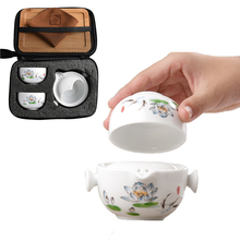 Ceramic teapots gaiwan teacups chinese teaware portable travel tea sets with bag Free shipping