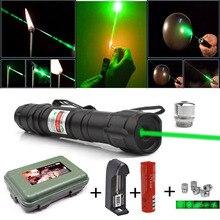 Мощная зеленая лазерная указка 5 мВт лазерный прицел мощное лазерное оборудование 2 в 1 съемный держатель лампы с зарядным устройством 18650