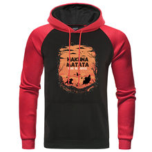 Lion King Hakuna Matata Hoodies ชาย Simba Pumbaa Timon Anime Mens Raglan Hooded (China)