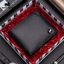 BISON DENIM Business casual wallet Men top Layer Geneine leather purses men short Wallets silver metal Logo N4411-3B
