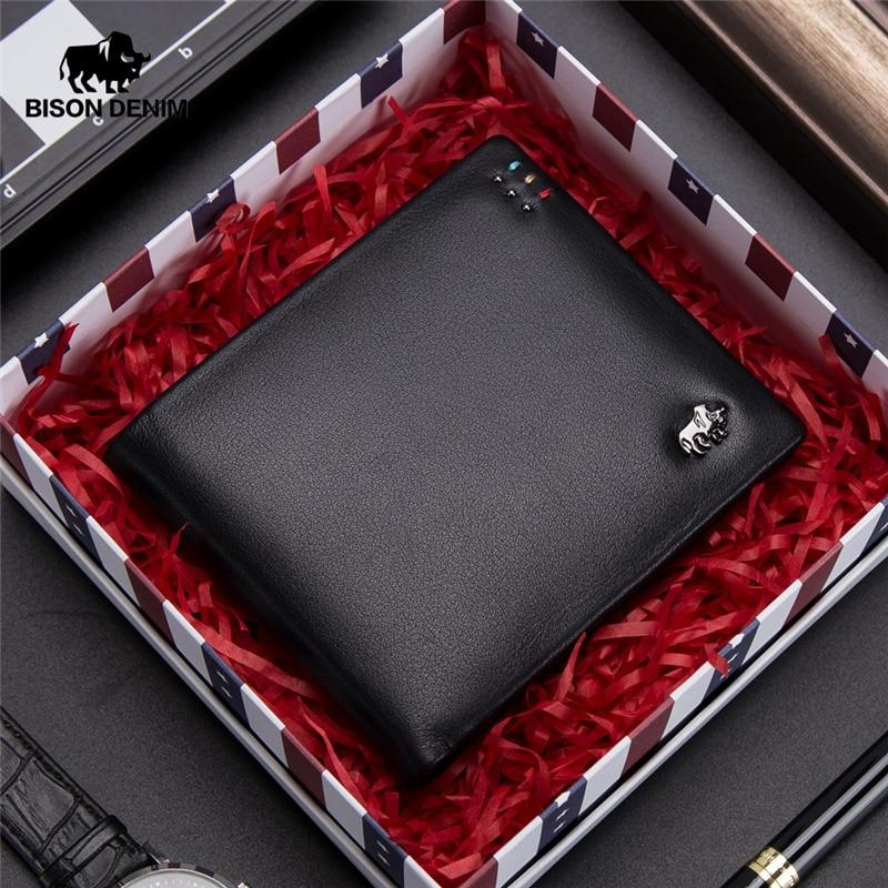 BISON DENIM Business Casual Wallet Men Top Layer Genuine leather Purses Men Short Wallets Metal Brand Logo Slim Wallet N4411