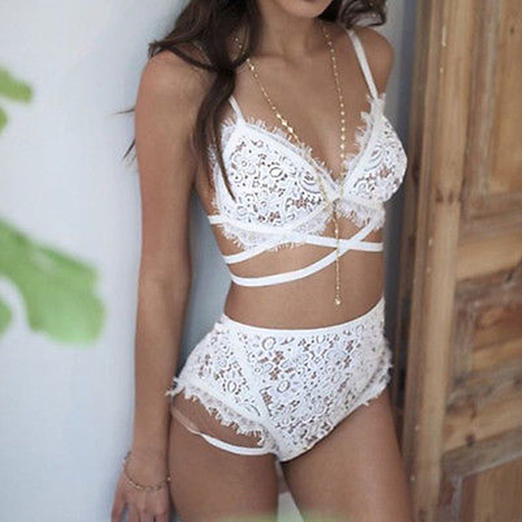 Fashion Hot Sale White Lingerie Babydoll Erotic Women's Sexy Lace Underwear Vest Top G-string Bra Panty Set