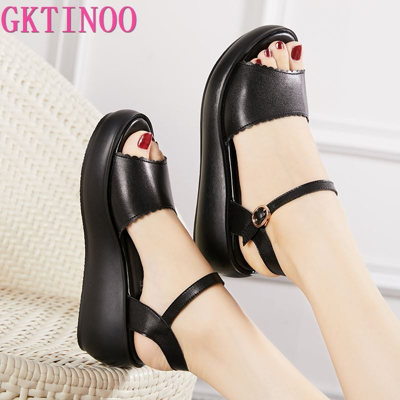GKTINOO Genuine Leather Shoes Woman Summer 2020 Platform Sandals Ladies Wedge Heels Leather Sandals Women Beach Shoe