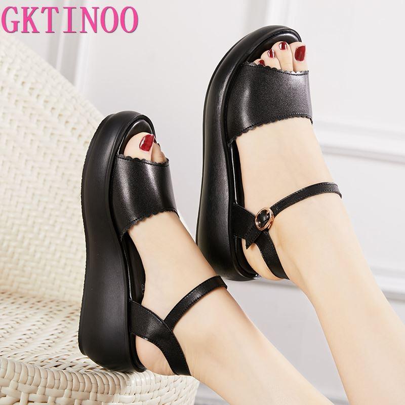 GKTINOO Genuine Leather Shoes Woman Summer 2020 Platform Sandals Ladies Wedge Heels Leather Sandals Women Beach Shoe