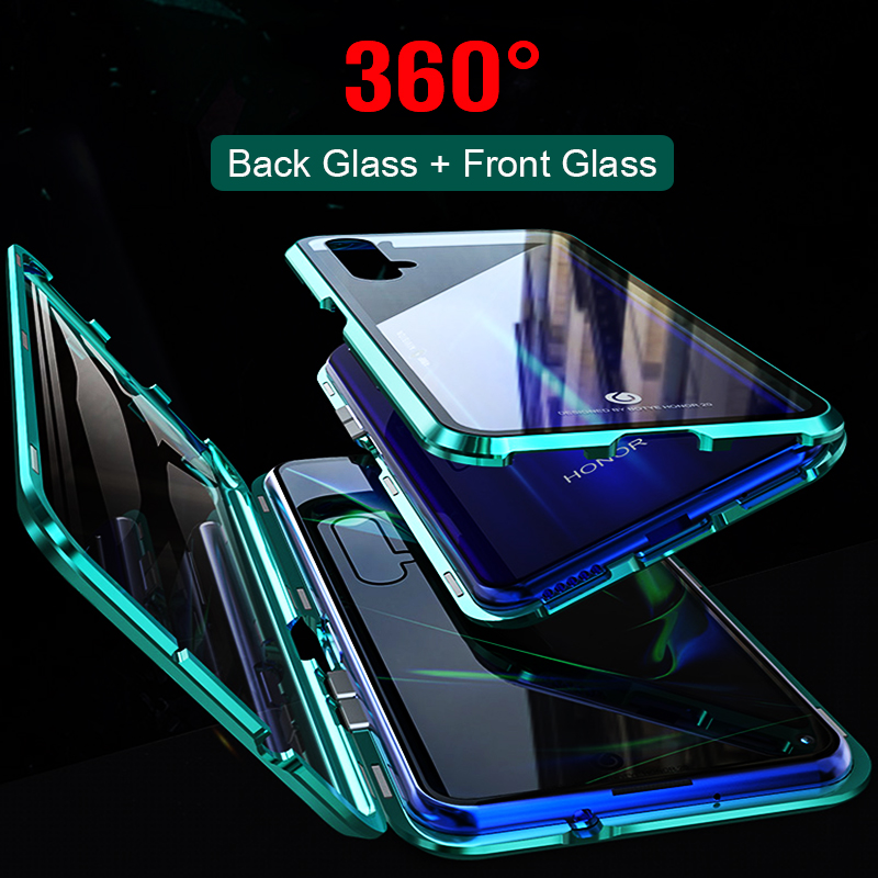 Full Body Cover Case For Huawei honor 20 Cover Magnetic Case For honor 20 Pro Case double-sided 9H Tempered Glass Case image