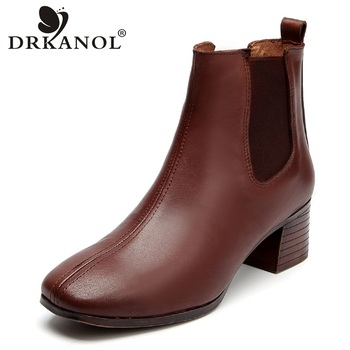 DRKANOL New Handmade Genuine Leather Women Thick Heel Boots Winter Warm Boots Retro Elastic Band Classic High Heels Shoes HA09-2
